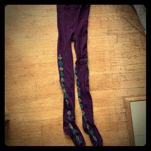 Winter sweater tights aubergine purple